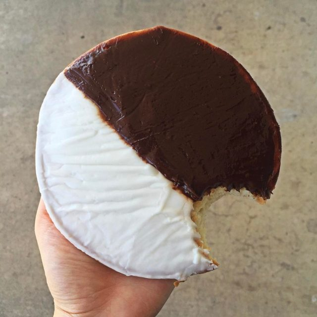 The key to eating a black and white cookie ishellip
