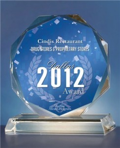 Cindis Restaurant Receives 2012 Dallas Award
