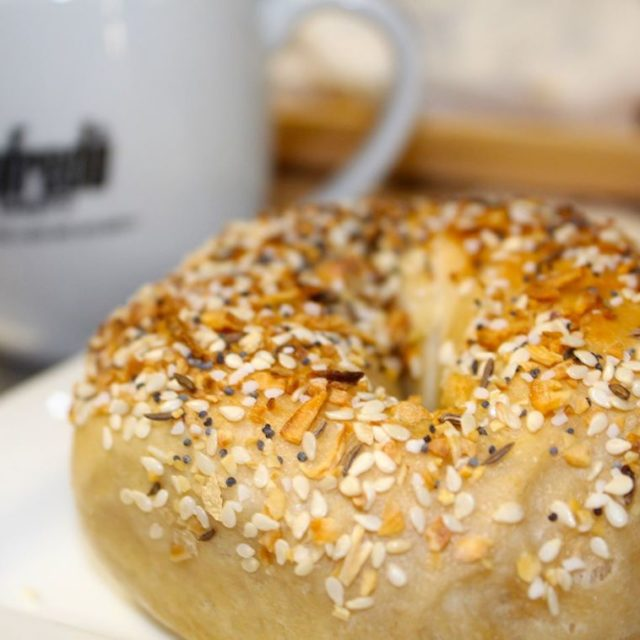 Happiness is an everything bagel and fresh coffee to starthellip
